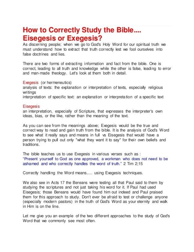 Eisegesis Or Exegesis