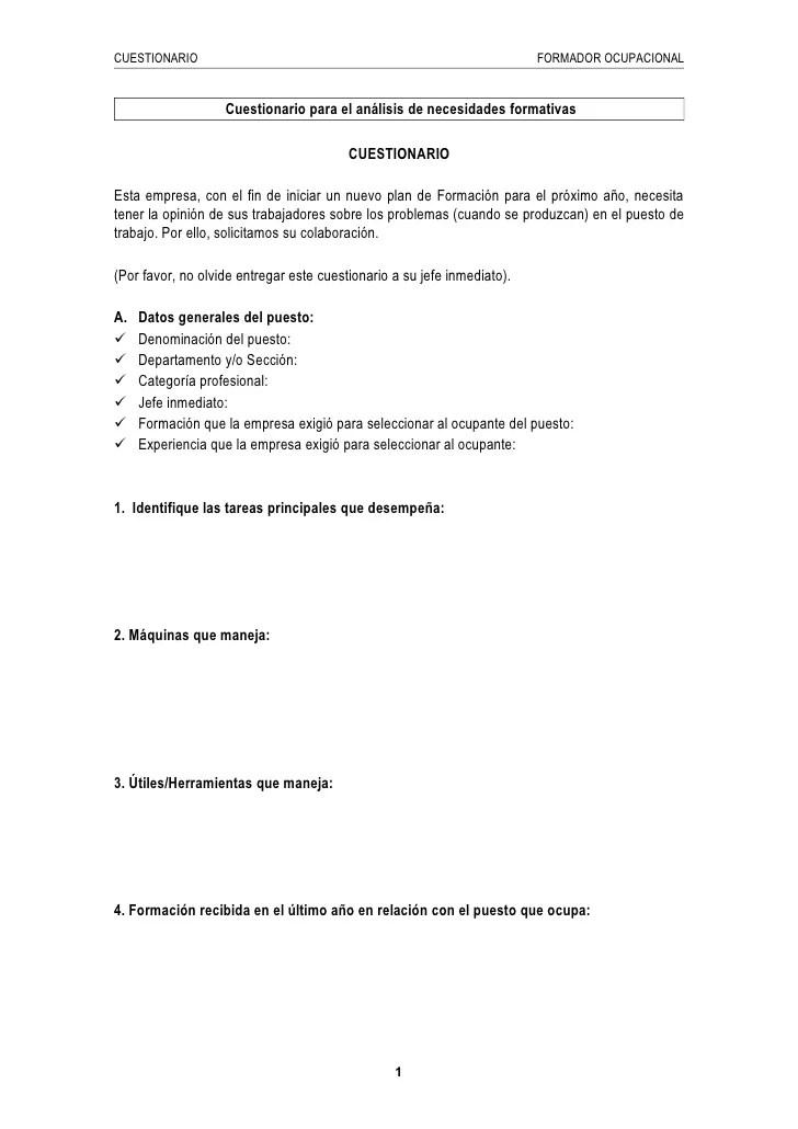 Ejemplo de cuestionario para el anlisis de necesidades