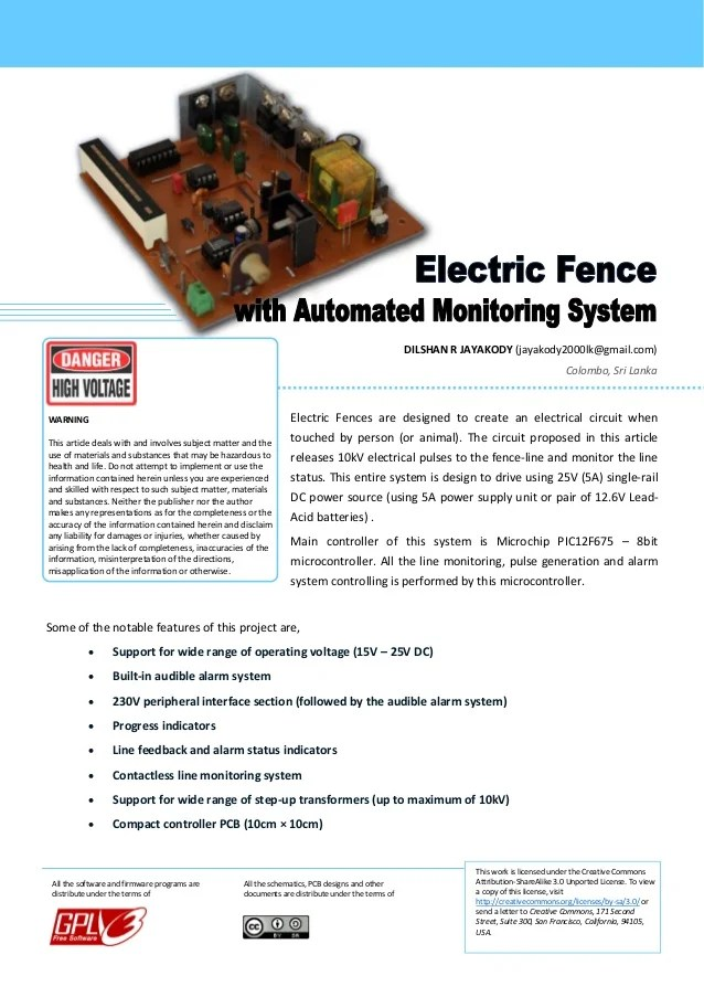 Electric Fence Circuit Diagram : electric, fence, circuit, diagram, Electric, Fences, Automated, Monitoring, System