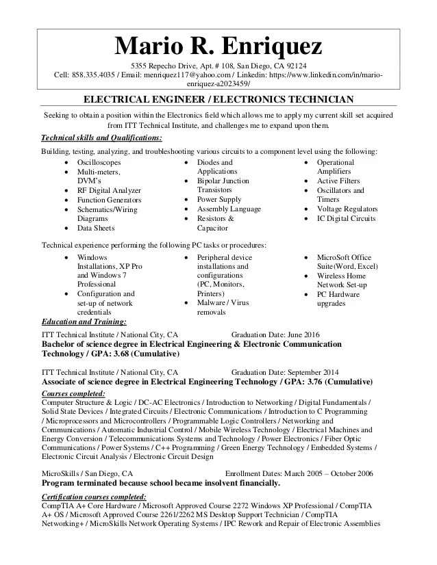 resume samples for an electrical engineer in aircraft projects