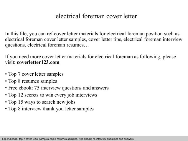 Electrical Foreman Cover Letter