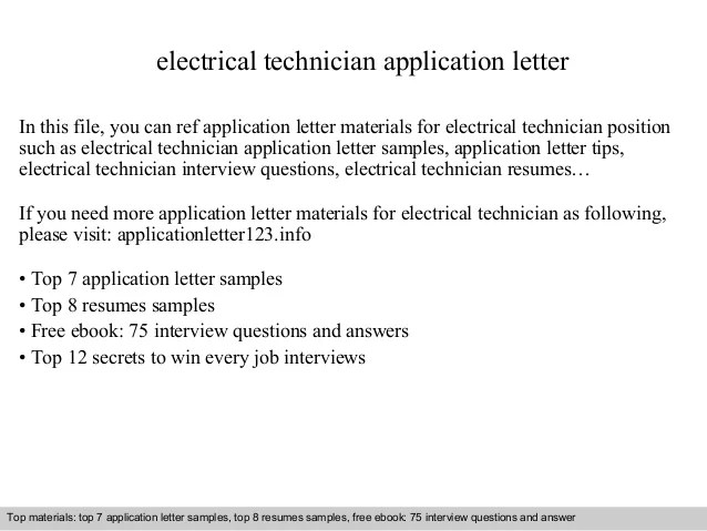 Electrical Technician Application Letter