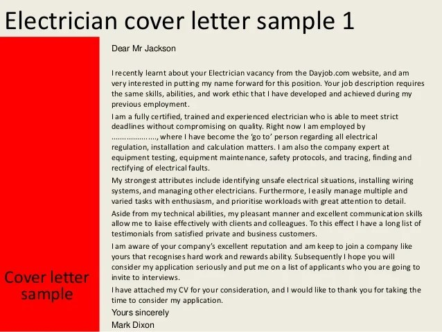 sample electrician cover letters - Yatay.horizonconsulting.co