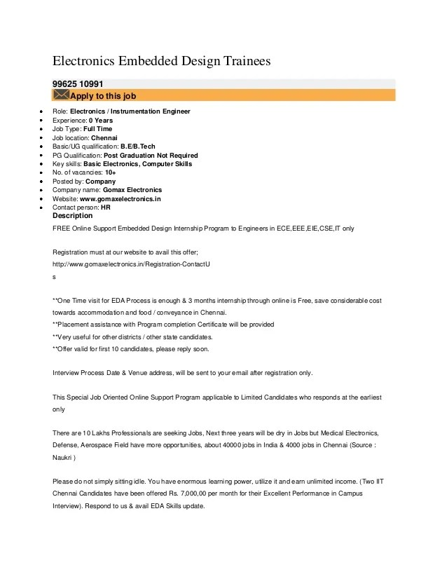 key skills for resume for electronics engineer