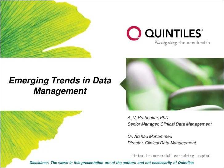Emerging Trends in Clinical Data Management