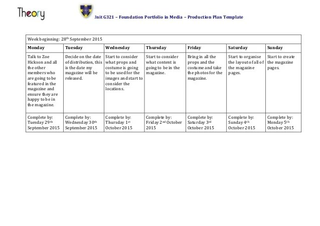 Emma Walker Production Plan Template