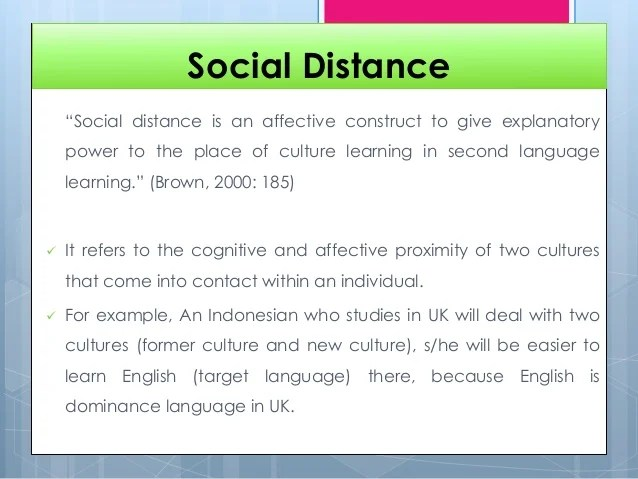 Emotional And Social Distance