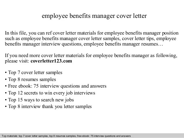 Employee benefits manager cover letter