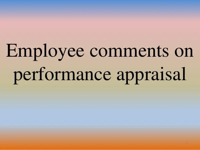sample of employee comments on performance review
