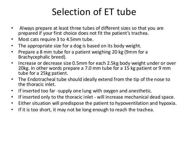 selection of et tube also endotracheal intubation in pets rh slideshare