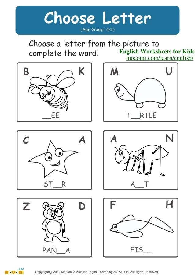 also choose letter  english worksheets for kids mocomi rh slideshare