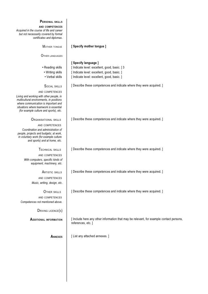 English Format Cv
