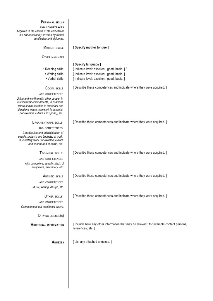 social skills competences cv examples