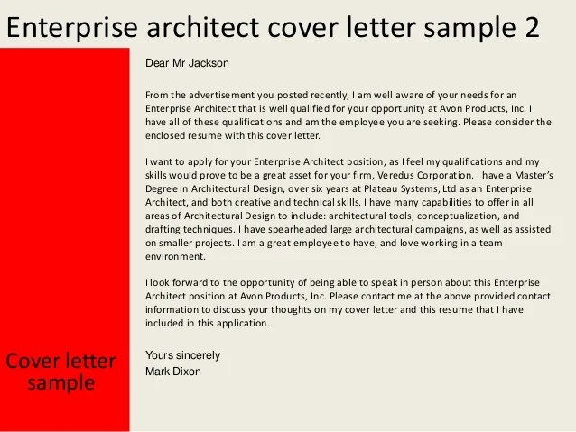 Cover Letter Enterprise Architect