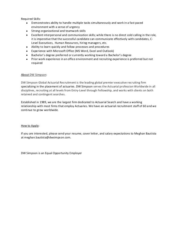 Entry level assistant recruiter or intern job description