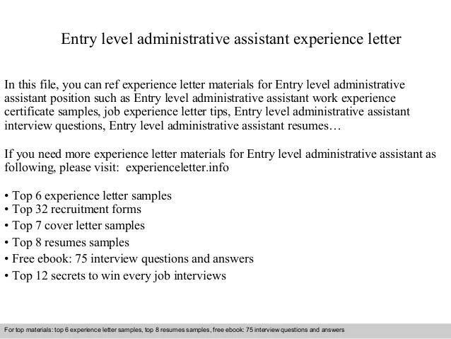 Entry Level Administrative Assistant Experience Letter