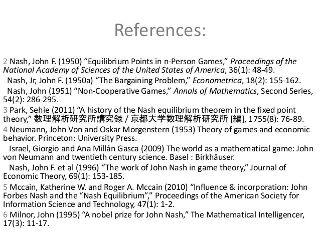 Equilibrium In Nash S Mind With References