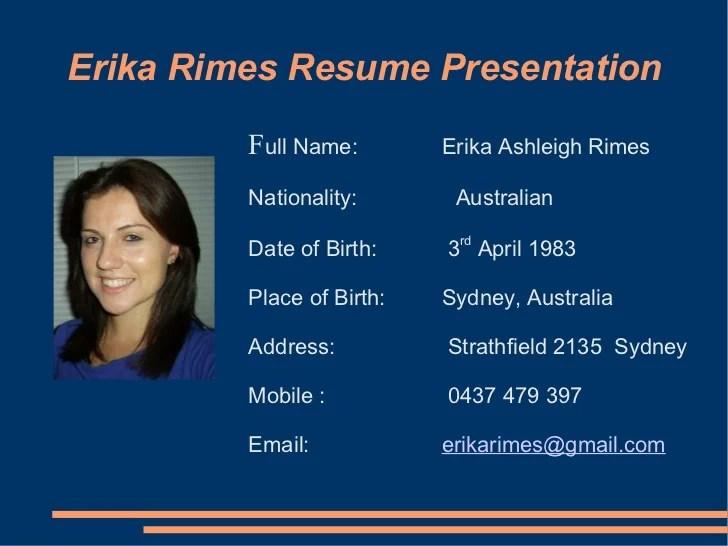 Erika Rimes Resume Powerpoint