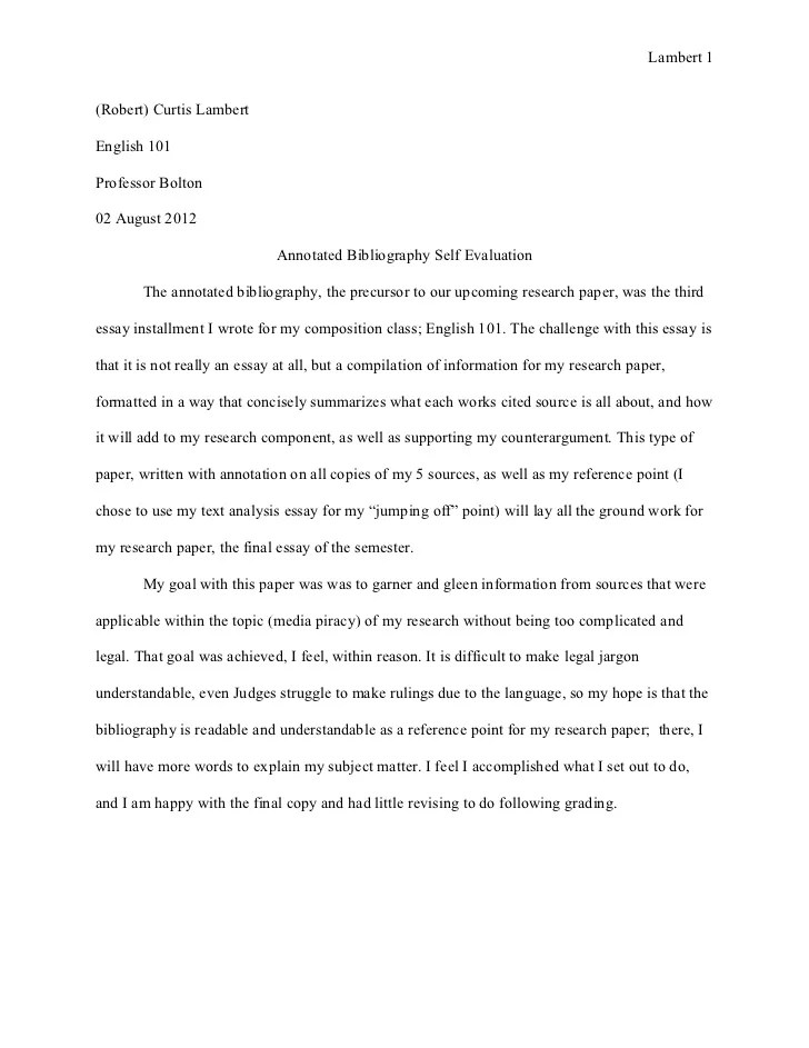 Essay 3 Annotated Bibliography Self Evaluation Aug 02 2012