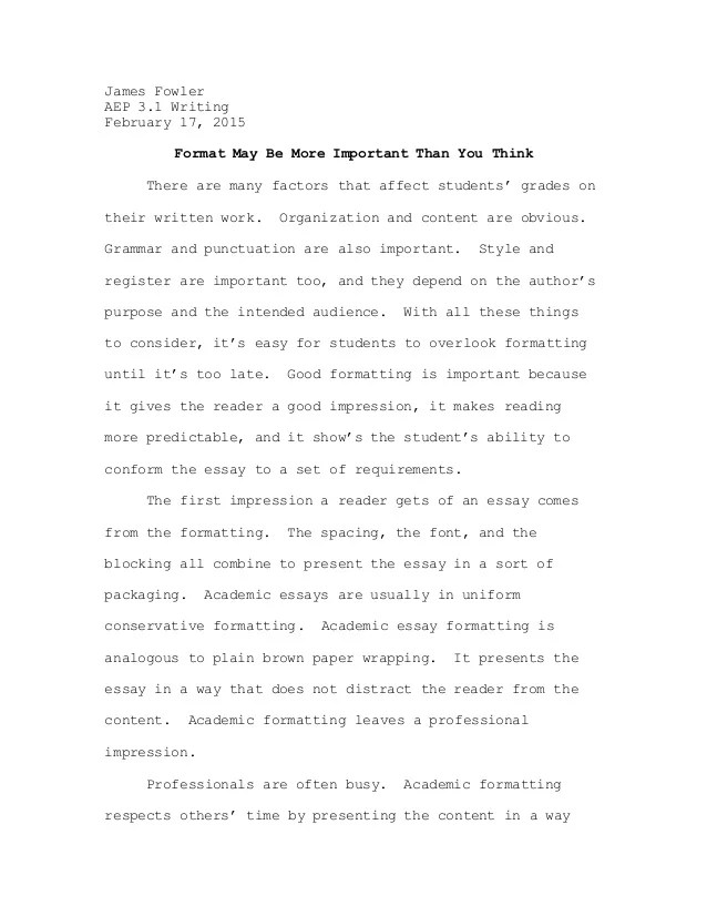 Essay formatting example