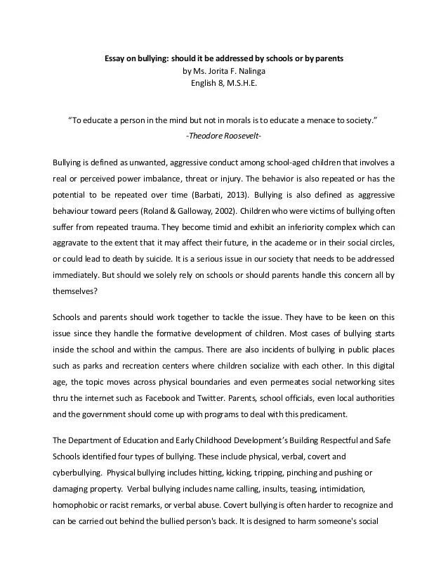 Bullying Essay Examples Bullying Essay Example The Introduction To