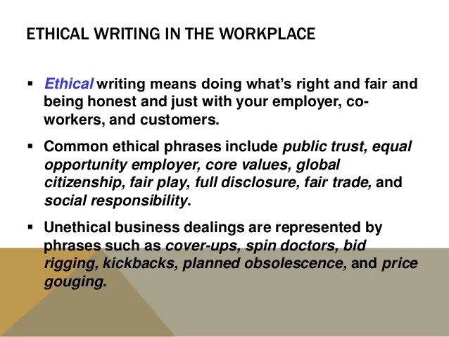 Ethical Writing In The Workplace