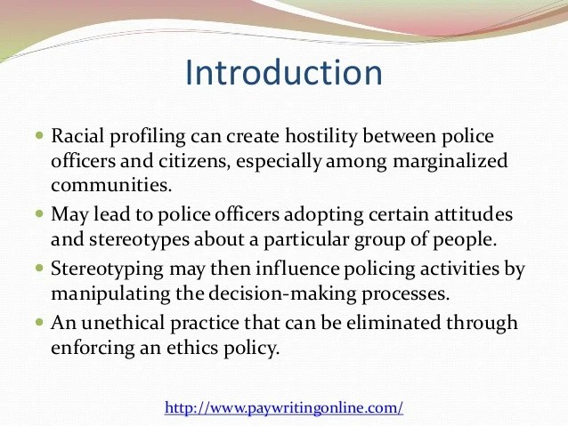 Ethics Policy Against Racial Profiling
