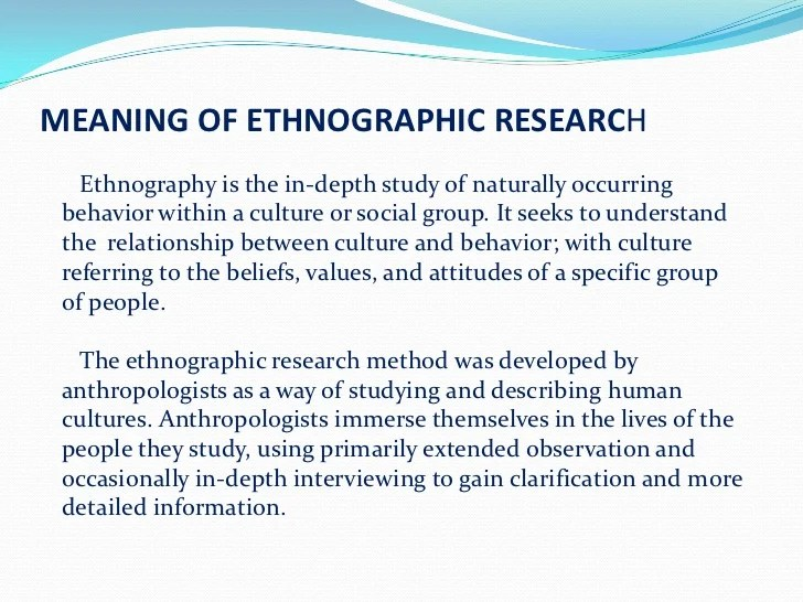 Ethnographic Research 2