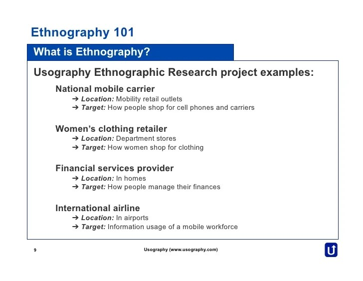 Ethnography 101 By Usography