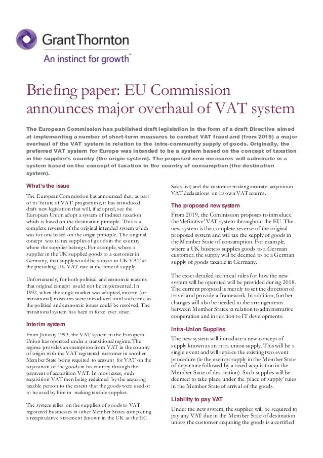 Briefing Paper EU Commission Announces Major Overhaul Of