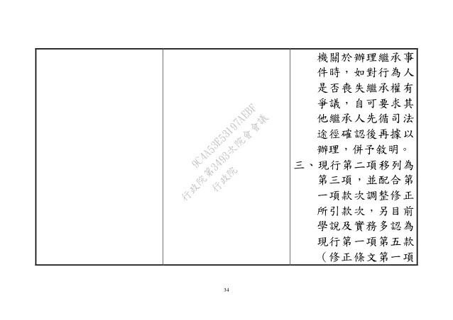 1050331法務部:擬具「民法繼承編」部分條文修正草案及「民法繼承編施行法」第2條之1,第4條,第9條之1修正草案