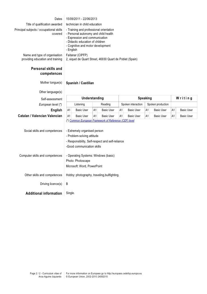 cv qualification competences