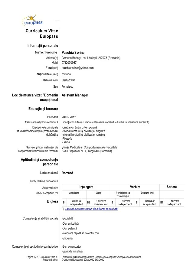 Cv Ul In Format Europass Sample Service Resume