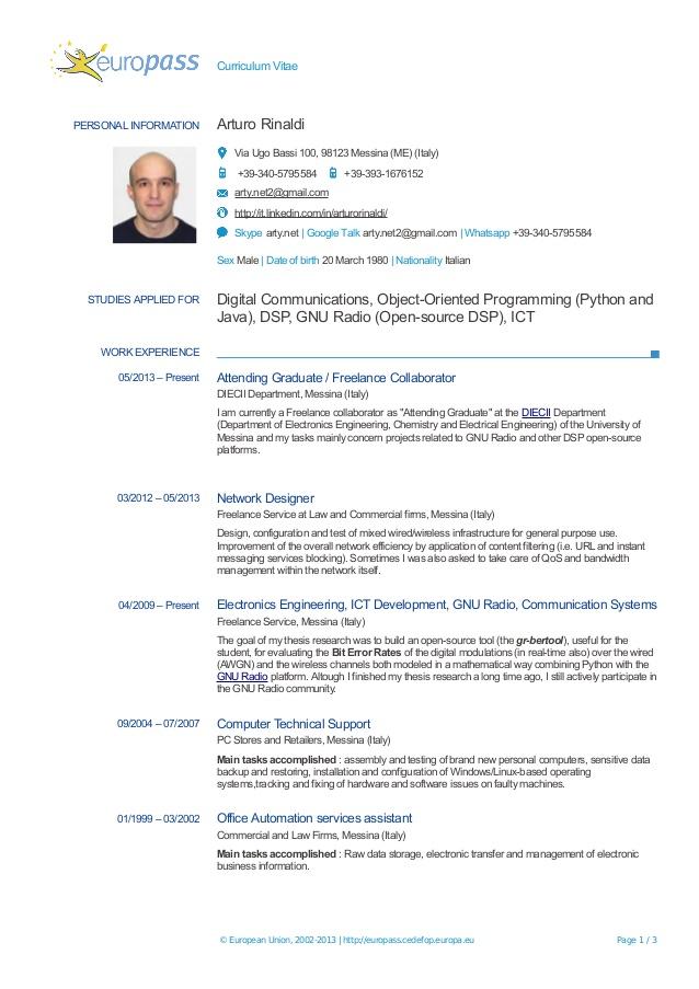 Europass Cv Online In English Curriculum Vitae Gratuit