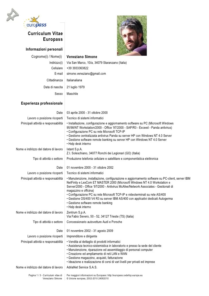 Europass Cv English Doc Sample Customer Service Resume