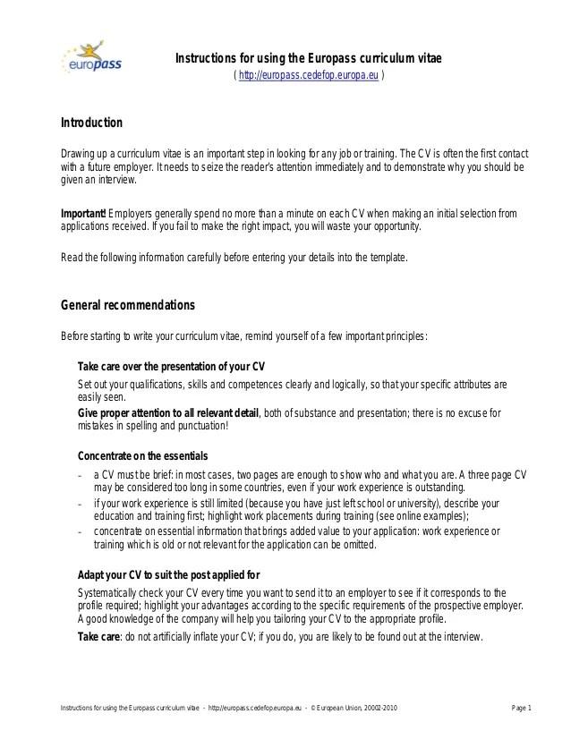 europass cv instructions