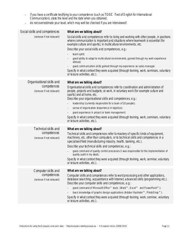competences en communication cv europass