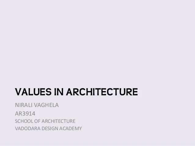 values in architecture
