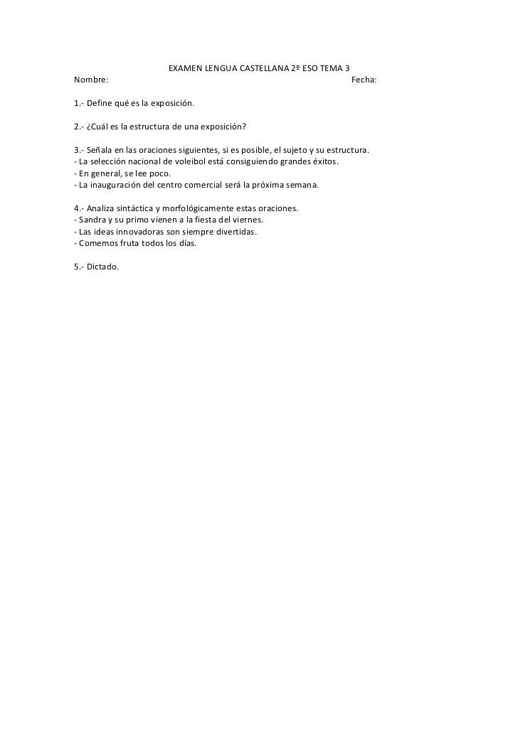 Examen Lengua Castellana