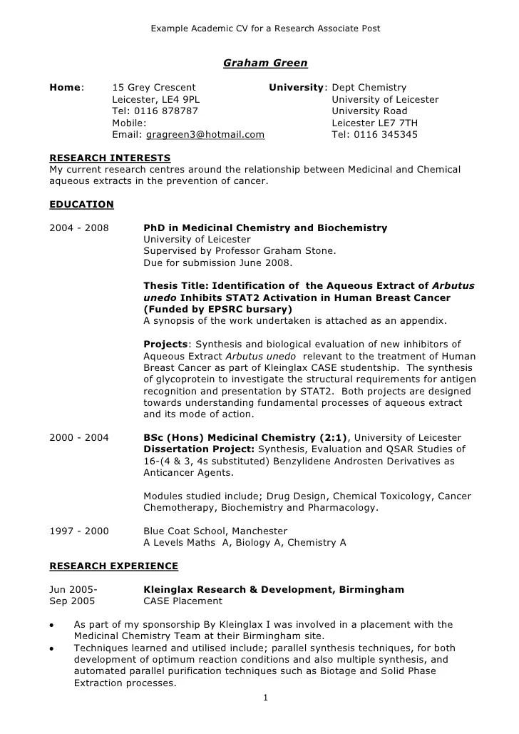 curriculum vitae samples academic