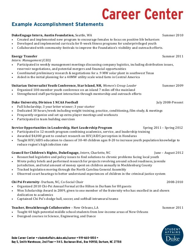 Resume Accomplishment Statements Examples