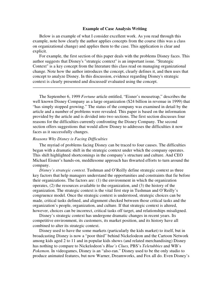 academic case study examples
