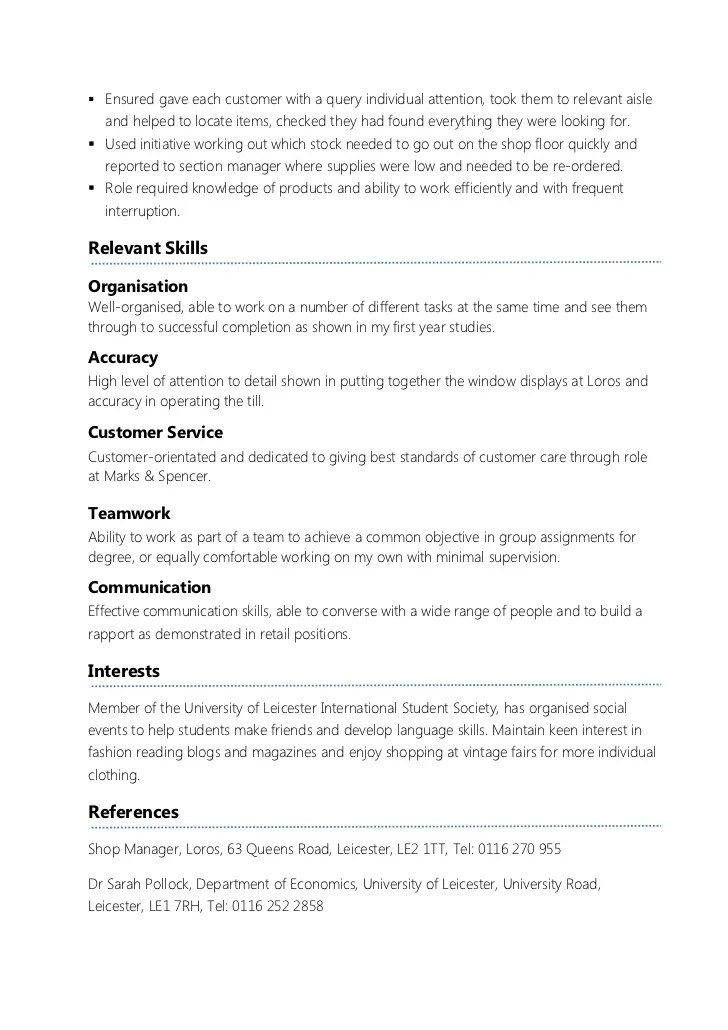 Resume Format For Students In The London   Sample Customer ...
