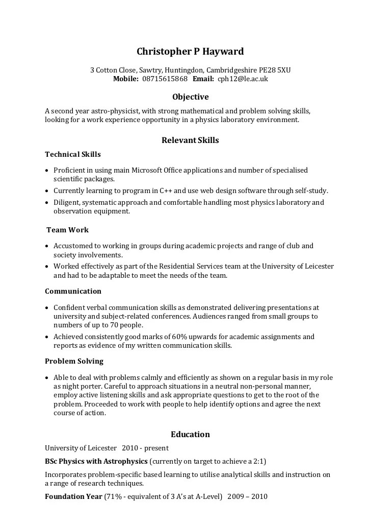 Example Skills Based CV  Job Resume Skills