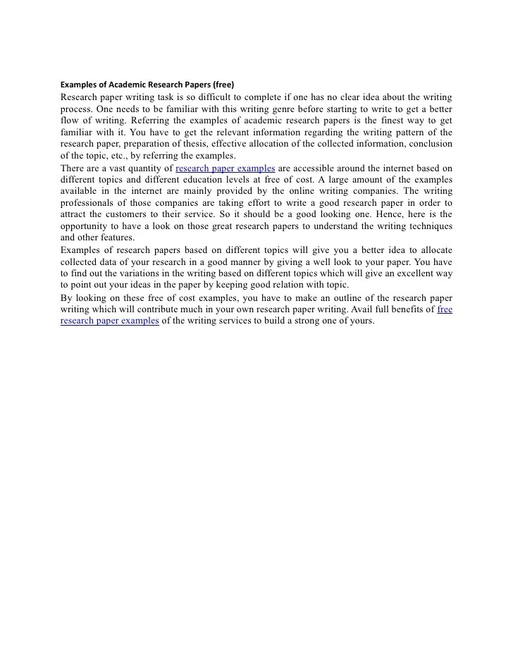 Free Examples Of Academic Research Papers