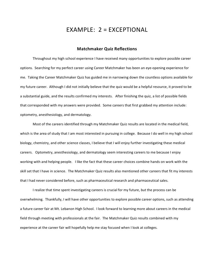 Sample Self Reflection Essay Clerical Example Resume Cheap Admission