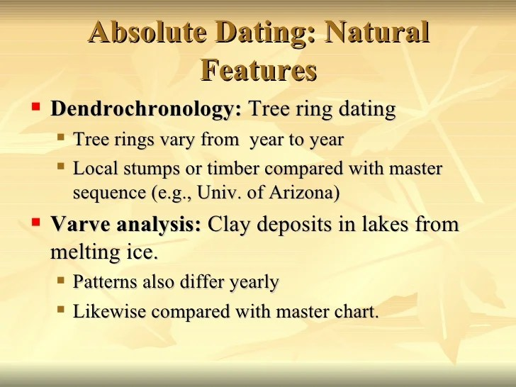 Tree rings absolute dating