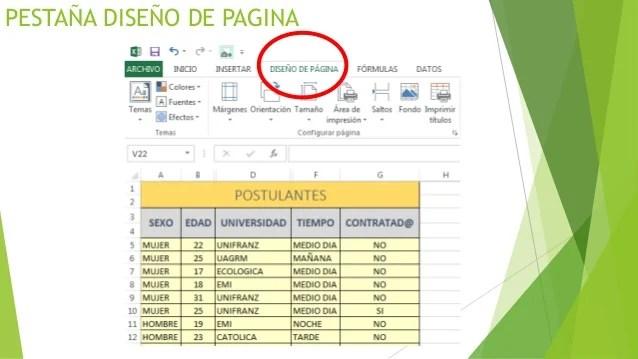 Presentacion de Diseo de pagina Excel 2013