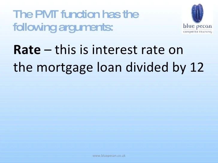 formula for mortgage payment excel