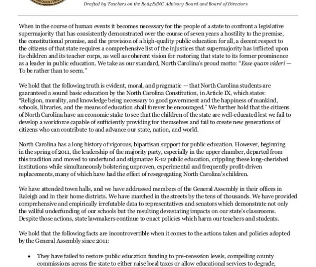 Declaration In Defense Of North Carolinas Public Schoolchildren July 4th 2018 Drafted By Teachers On